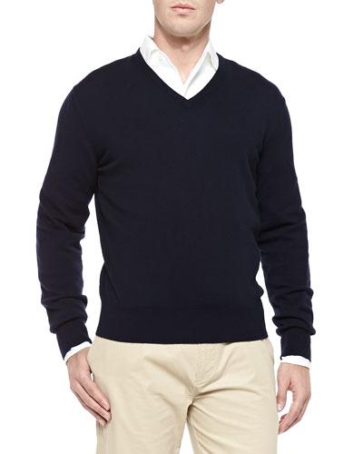 Baby Cashmere V-Neck Sweater, Blue Navy