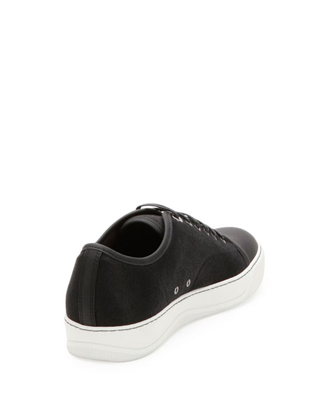 Sparkle-Canvas Low-Top Sneaker, Light Gray