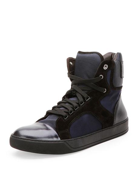 Mixed-Media High-Top Sneaker, Navy