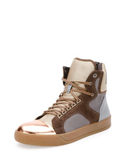 Mixed-Media High-Top Sneaker, Metallic