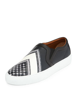 Keffiah-Print Leather Skate Shoe