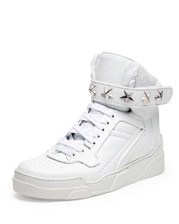 Tyson Cap-Toe Leather High-Top Sneaker, White