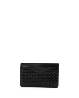 Covered-Stud Leather Card Case, Black