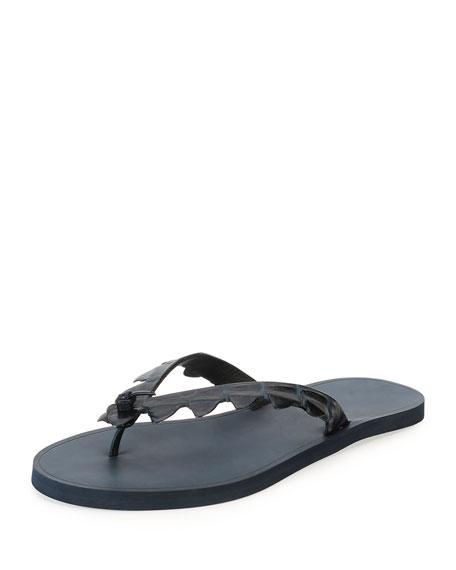 Crocodile-Embossed Flip-Flop Sandal, Dark Brown