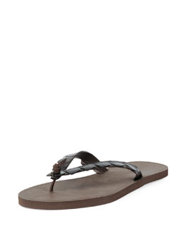 Crocodile-Embossed Flip-Flop Sandal, Dark Brown
