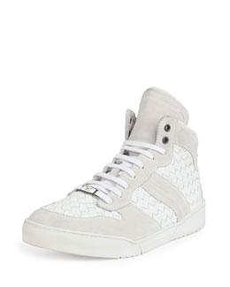 Leather High-Top Woven Sneaker