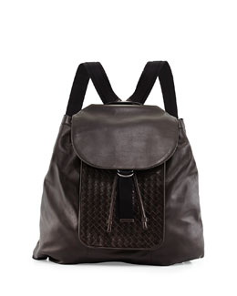 Woven Leather Backpack, Brown