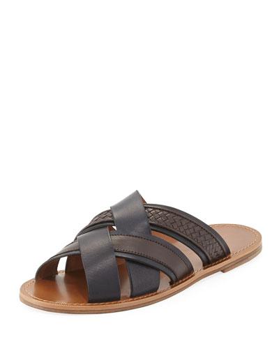 Woven Leather Crisscross Sandal, Navy/Brown