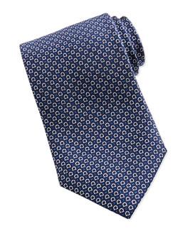 Silk Gancini-Print Tie, Blue