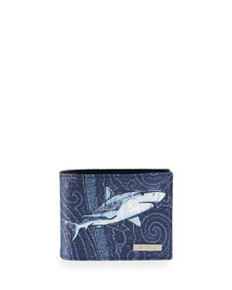 Shark-Printed Wallet, Multi