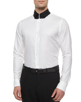 Long-Sleeve Poplin Shirt with Necktie-Collar, White