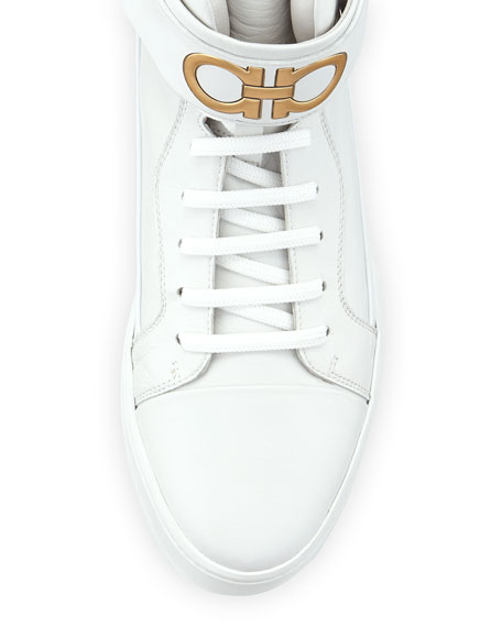 High-Top Sneaker with Ankle Strap, White