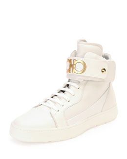 Night High-Top Sneaker with Ankle Strap, White