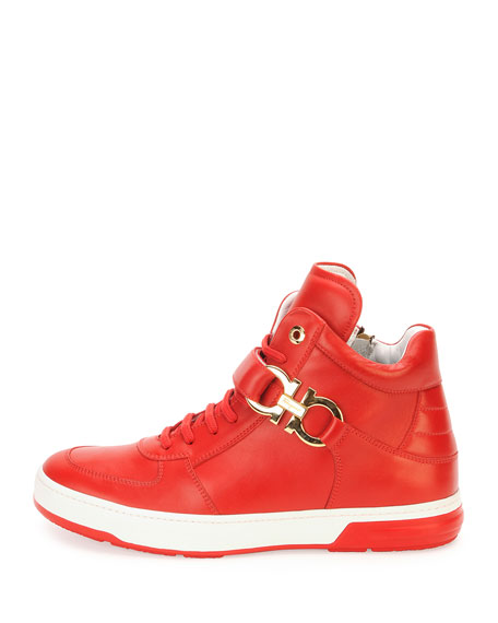 High-Top Sneaker with Side Gancini, Red