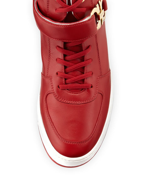 Men's High-Top Sneakers with Side Gancini, Red