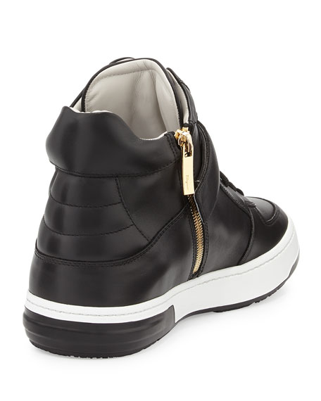 High-Top Sneaker with Side Gancini, Black