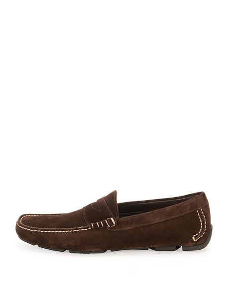 Contrast-Stitch Suede Penny Driver, Chocolate