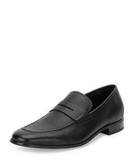 Rocco Smooth Leather Penny Loafer, Black