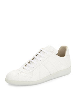 Low-Top Glitter Sneaker, White