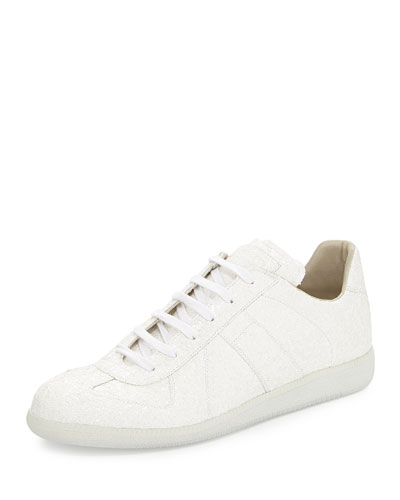 Low-Top Glitter Sneaker, White