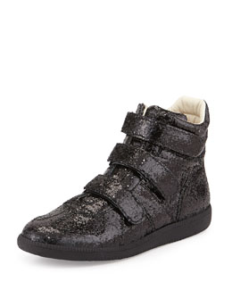 Three-Strap High-Top Sneaker, Black Glitter