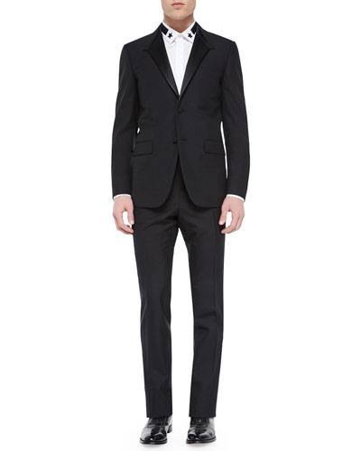 Madonna-Collar Wool Tuxedo Jacket, Black