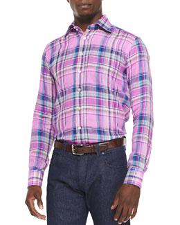 Plaid Woven Linen Sport Shirt, Pink/Multi