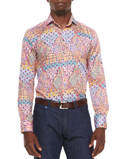 Woven Paisley Floral Print Sport Shirt, Multi