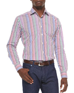 Long-Sleeve Gingham Sport Shirt, Multi