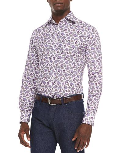 Long-Sleeve Paisley-Print Sport Shirt, Purple/Multi