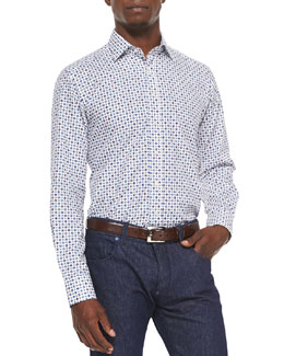 Mini-Paisley/Diamond Long-Sleeve Sport Shirt, Blue
