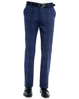 Cotton-Blend Plaid Pants, Blue