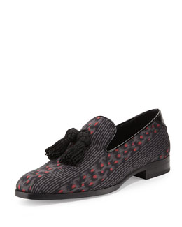 Foxley Men's Tassel Loafer, Black/Red