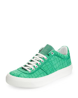 Portman Men's Crocodile-Embossed Sneaker, Matte Mint Green