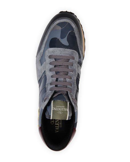 Rockrunner Leather and Suede Sneaker, Gray