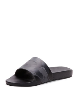 Camo Slip-On Sandal, Black