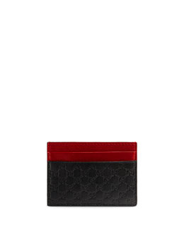 Microguccissima Leather Card Case, Black/Red/Green