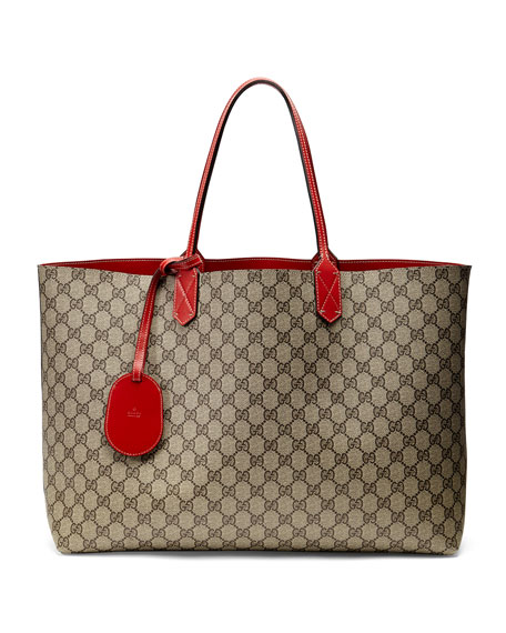 b66e1f1f7c2c Gucci Reversible GG Leather Tote Bag, Red/Beige