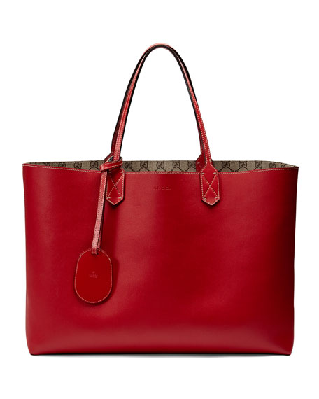20200c0fa Gucci Reversible GG Leather Tote Bag, Red/Beige