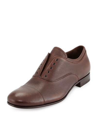 Leather Laceless Oxford, Brown
