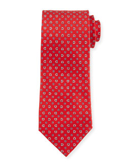 Gancini-Core Woven Tie, Red
