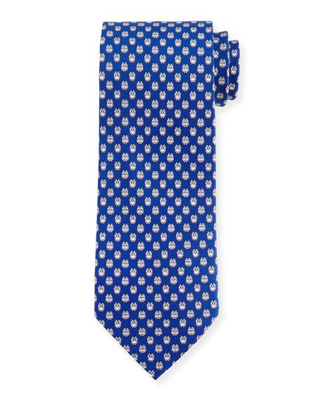 Owl-Print Woven Tie, Royal