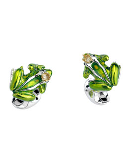 Crowned Frog Cuff Links