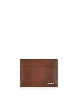 Saffiano Card Case, Cacao