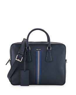 Saffiano Logo Stripe Briefcase with Shoulder Strap, Navy