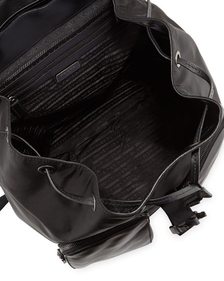 Leather Backpack with Nylon Trim, Black