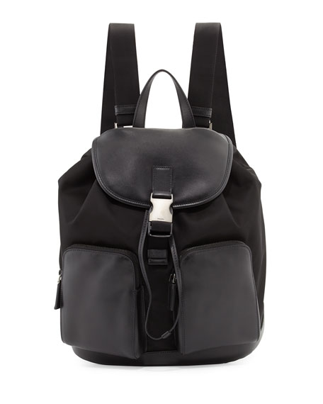Prada Leather Backpack with Nylon Trim, Black