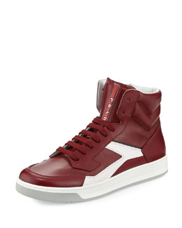 High-Top Side-Zip Sneaker, Red