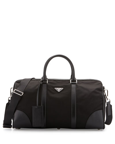 Nylon and Leather Duffel Bag, Black