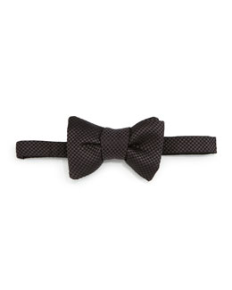 Micro-Check Bow Tie, Gray/Black